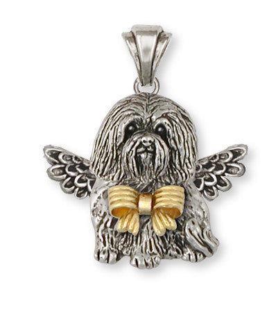 Havanese Angel Pendant Sterling Silver And 14k Gold Dog Jewelry HV4A-PT1