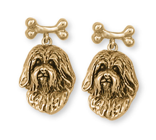 Havanese Earrings 14k Yellow Gold Vermeil Dog Jewelry HV5-BNEVM