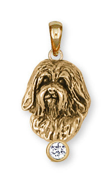 Havanese Pendant 14k Yellow Gold Vermeil Dog Jewelry HV5-SPVM