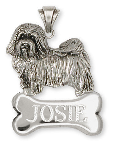 Havanese Personalized Pendant Handmade Sterling Silver Dog Jewelry HV6-NP