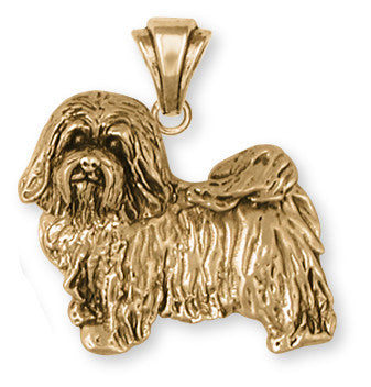 Havanese Pendant 14k Yellow Gold Vermeil Dog Jewelry HV6-PVM