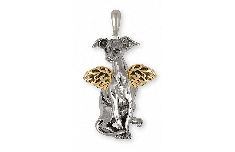 Italian Greyhound Charms Italian Greyhound Pendant Silver And 14k Gold Dog Jewelry Italian Greyhound jewelry