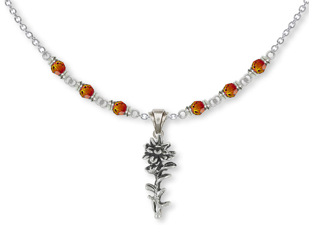 Indian Paintbrush Charms Indian Paintbrush Necklace Sterling Silver Flower Jewelry Indian Paintbrush jewelry