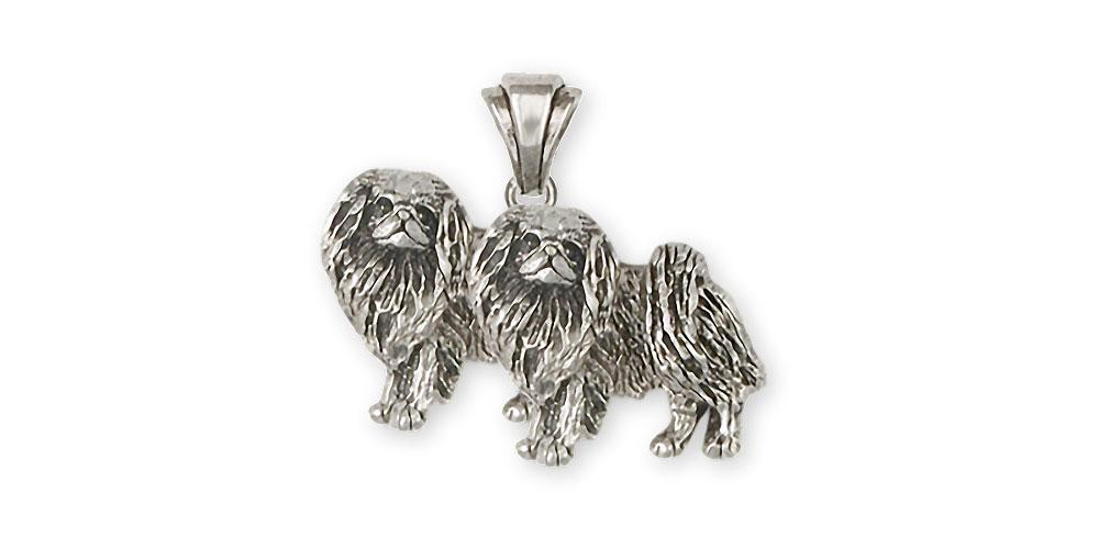 Double Japanese Chin Charms Double Japanese Chin Pendant Sterling Silver Dog Jewelry Double Japanese Chin jewelry
