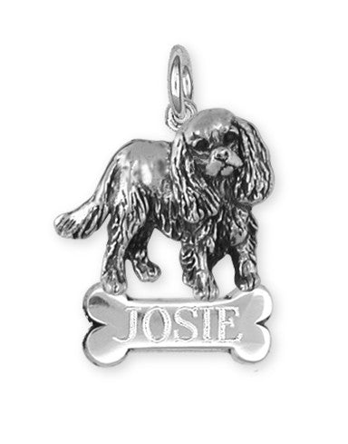 Cavalier King Charles Spaniel Personalized Charm Jewelry Handmade Sterling Silver KC17-BNC