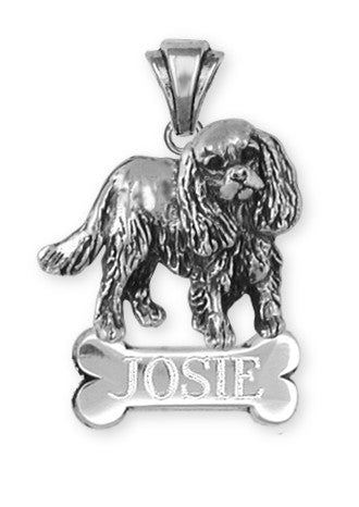 Cavalier King Charles Spaniel Personalized Pendant Jewelry Handmade Sterling Silver KC17-BNP