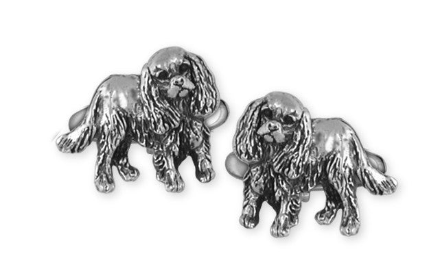 Cavalier King Charles Spaniel Cuff Links Jewelry Handmade Sterling Silver KC17-CL