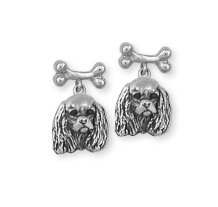 Cavalier King Charles Spaniel Earrings Jewelry Handmade Sterling Silver KC20-NE