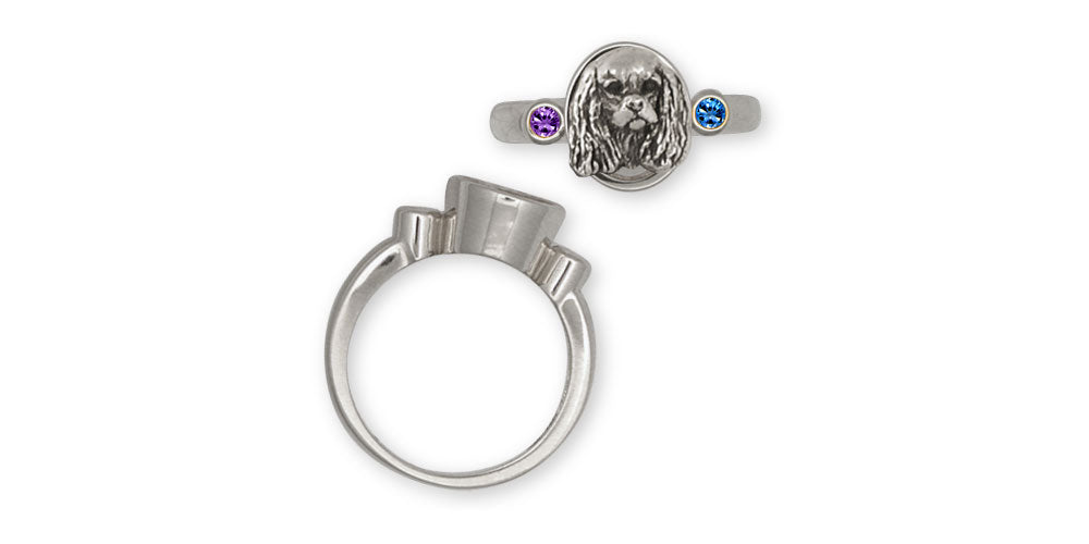 Cavalier King Charles Spaniel Birthstone Ring Jewelry Handmade Sterling Silver KC20-SR