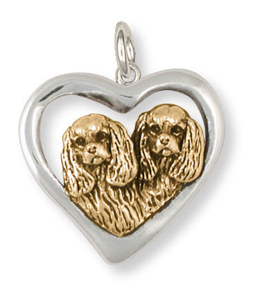 Cavalier King Charles Spaniel Charm Jewelry Handmade Two Tone Gold Vermeil KC21-2CVM