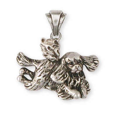 Cavalier King Charles Spaniel Angel Pendant Jewelry Handmade Sterling Silver KC24-AP