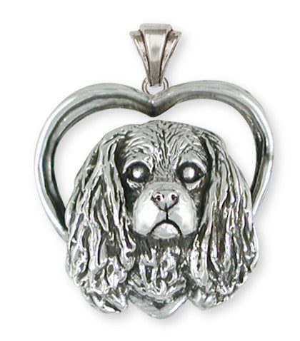 Cavalier King Charles Spaniel Heart Pendant Jewelry Handmade Sterling Silver KC27-P