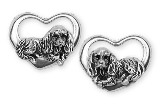 Cavalier King Charles Spaniel Post Earrings Jewelry Handmade Sterling Silver KC3H-E