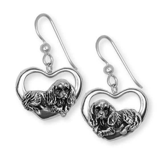 Cavalier King Charles Spaniel Post Earrings Jewelry Handmade Sterling Silver KC3H-FW