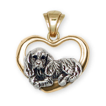 Cavalier King Charles Spaniel Pendant Jewelry Two Tone 14k Gold Vermeil KC3H-PVM