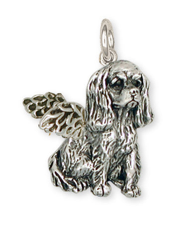 Cavalier King Charles Spaniel Angel Charm Jewelry Handmade Sterling Silver KC4-AC