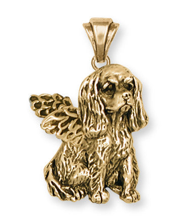 Cavalier King Charles Spaniel Angel Pendant Jewelry Handmade Sterling Silver KC4-APVM