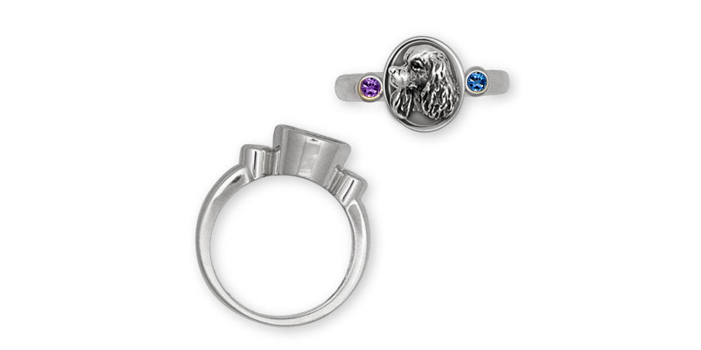 Cavalier King Charles Spaniel Birthstone Ring Jewelry Handmade Sterling Silver KC7-SR