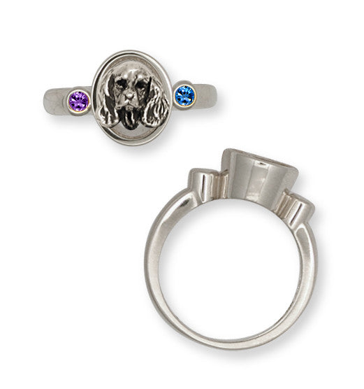 Cavalier King Charles Spaniel Birthstone Ring Jewelry Handmade Sterling Silver KC9-SR