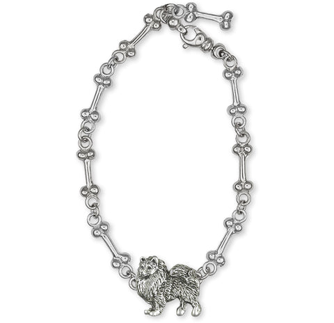 Keeshond Jewelry Sterling Silver Handmade Keeshond Ankle Bracelet  KSH1H-A