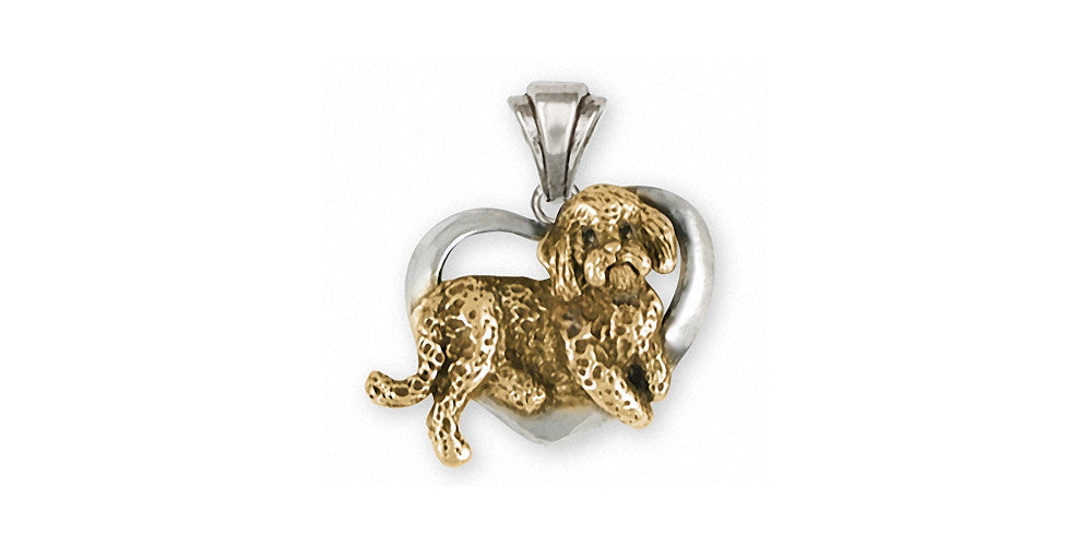 Labradoodle Charms Labradoodle Pendant Silver And Gold Dog Jewelry Labradoodle jewelry