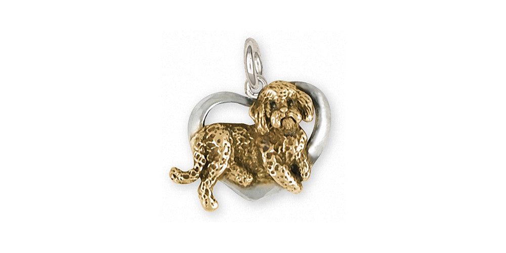 Labradoodle Charms Labradoodle Charm Silver And Gold Dog Jewelry Labradoodle jewelry