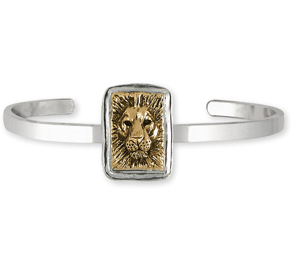 Lion Charms Lion Bracelet Silver And 14k Gold Lion Jewelry Lion jewelry