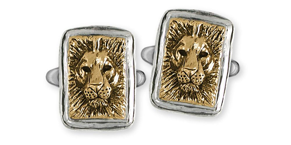 Lion Charms Lion Cufflinks Silver And 14k Gold Lion Jewelry Lion jewelry