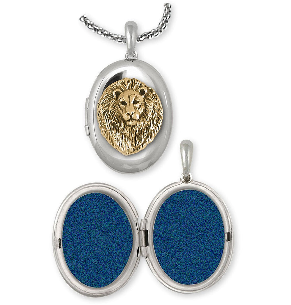 Lion Charms Lion Photo Locket Silver And 14k Gold Lion Jewelry Lion jewelry