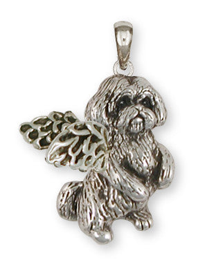 Lhasa Apso Anglel Pendant Handmade Sterling Silver Dog Jewelry LSLSZ9-AP