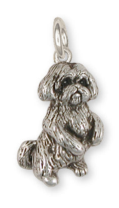 Lhasa Apso Charm Handmade Sterling Silver Dog Jewelry LSLSZ9-C