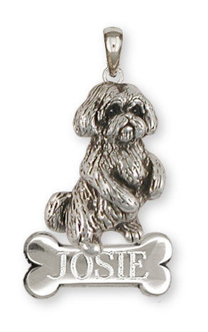 Lhasa Apso Personalized Pendant Handmade Sterling Silver Dog Jewelry LSLSZ9-NP