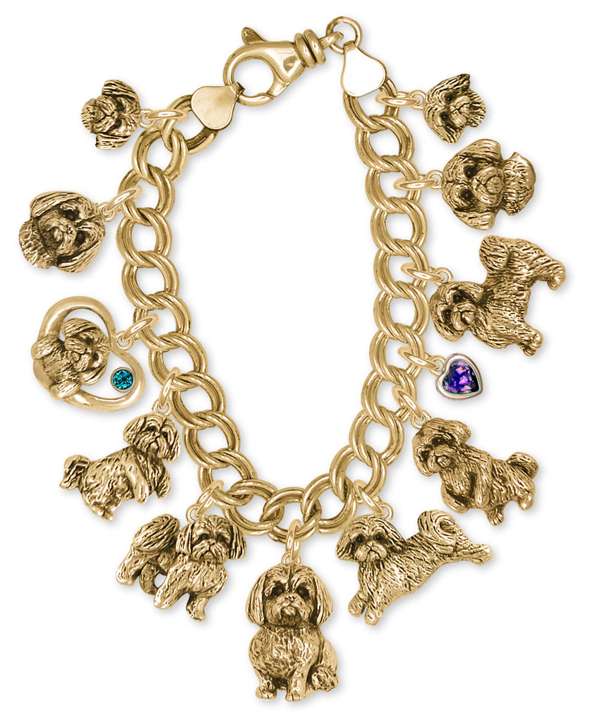 Lhasa Apso Bracelet 14k Yellow Gold Vermeil Dog Jewelry LSZ-CBRVM