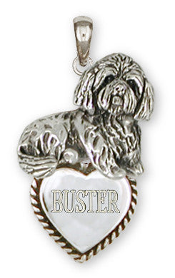 Lhasa Apso Personalized Pendant Handmade Sterling Silver Dog Jewelry LSZ18-TP