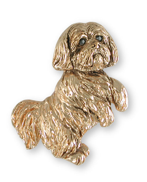 Lhasa Apso Pendant 14k Yellow Gold Vermeil Dog Jewelry LSZ19-PVM