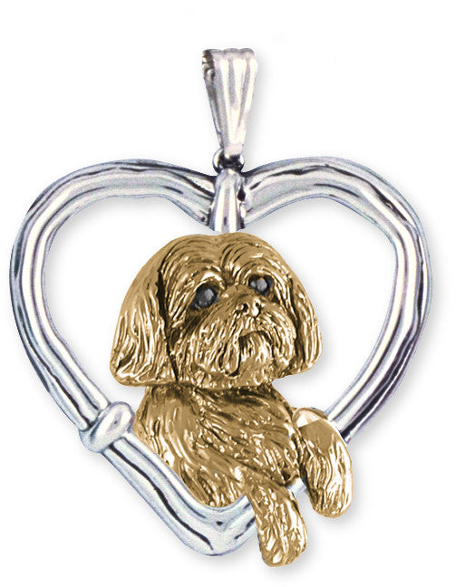 Lhasa Apso Pendant 14k Yellow And White Gold Vermeil Dog Jewelry LSZ19-TPVM