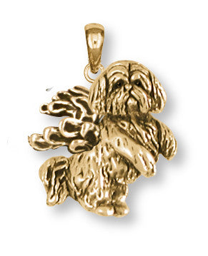Lhasa Apso Pendant 14k Yellow Gold Vermeil Dog Jewelry LSZ20-APVM