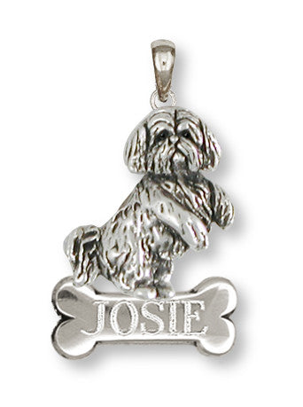 Lhasa Apso Personalized Pendant Handmade Sterling Silver Dog Jewelry LSZ20-NP