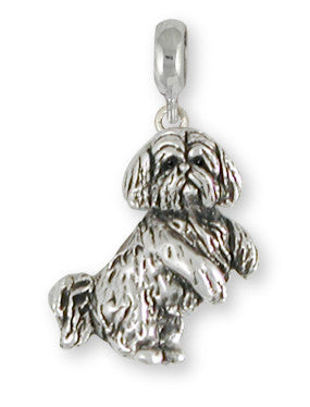 Lhasa Apso Charm Slide Handmade Sterling Silver Dog Jewelry LSZ20-PNS