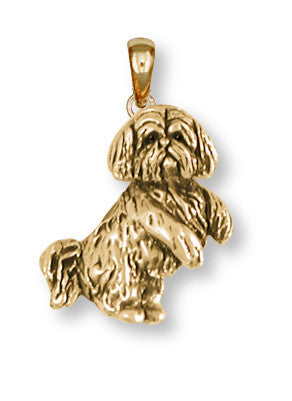 Lhasa Apso Pendant 14k Yellow Gold Vermeil Dog Jewelry LSZ20-PVM