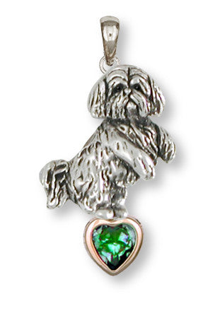 Lhasa Apso Birthstone Pendant Handmade Sterling Silver Dog Jewelry LSZ20-SP