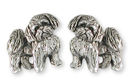 Lhasa Apso Cufflinks Handmade Sterling Silver Dog Jewelry LSZ21-CL