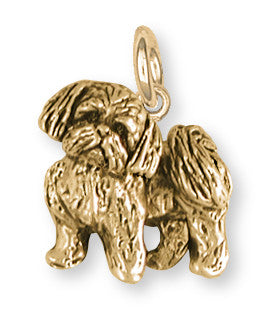 Lhasa Apso Charm 14k Yellow Gold Vermeil Dog Jewelry LSZ21-CVM