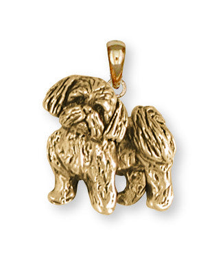 Lhasa Apso Pendant 14k Yellow Gold Vermeil Dog Jewelry LSZ21-PVM