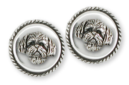 Lhasa Apso Cufflinks Handmade Sterling Silver Dog Jewelry LSZ21H-CL