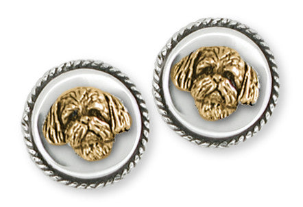 Lhasa Apso Cufflinks Silver And Yellow Bronze Dog Jewelry LSZ21H-CLZ