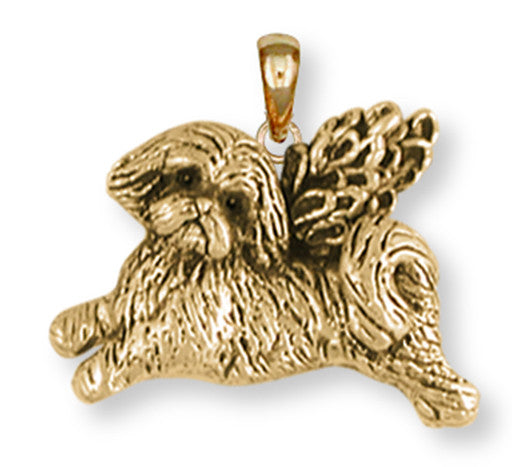 Lhasa Apso Pendant 14k Yellow Gold Vermeil Dog Jewelry LSZ22-APVM