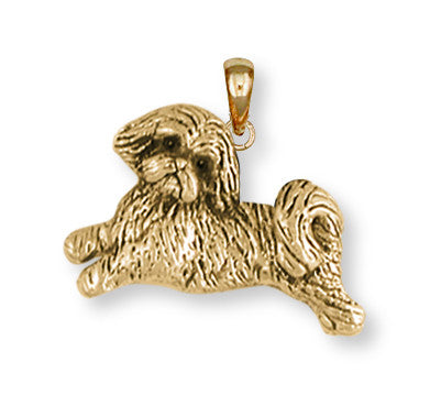 Lhasa Apso Pendant 14k Yellow Gold Vermeil Dog Jewelry LSZ22-PVM
