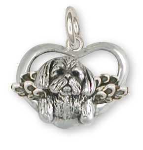 Lhasa Apso Charm Silver Angel Dog Jewelry LSZ23-AC