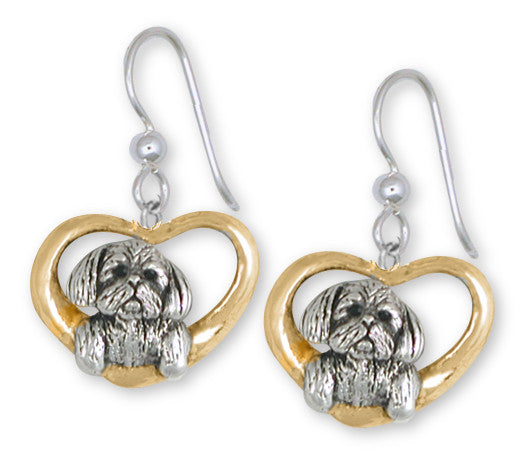 Lhasa Apso Earrings 14k Yellow And White Gold Vermeil Dog Jewelry LSZ23-EVM